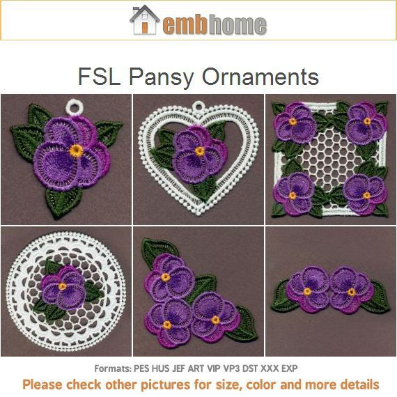 Fsl pansy ornaments free standing lace flower machine от