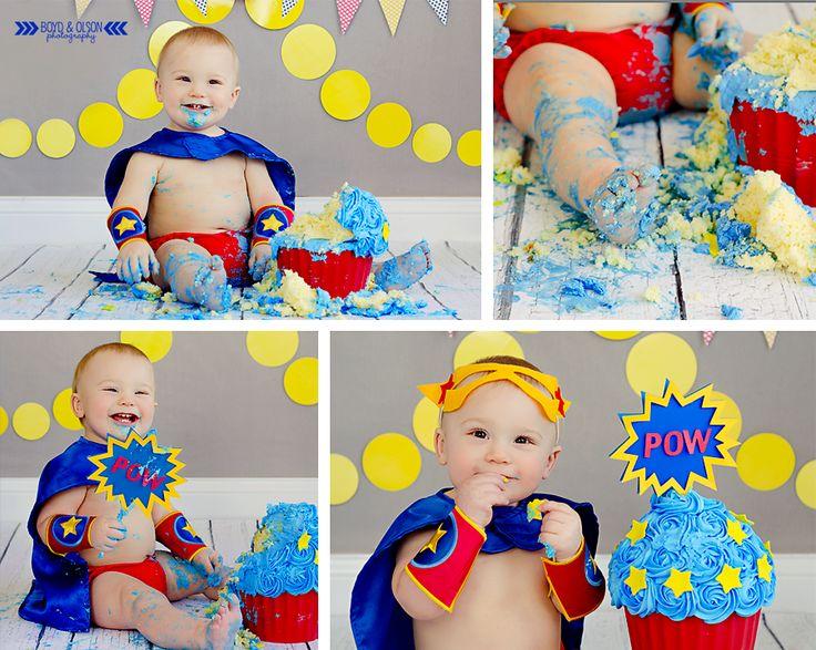 #boydandolsonphotography superhero smash cake photography super hero theme birthday https://www.facebook.com/BoydandOlsonPhotographyLLC