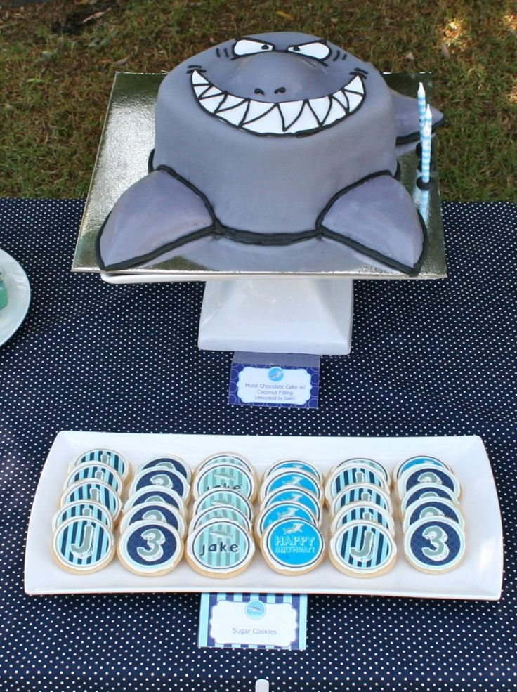 Different take on a shark cake - love his wicked grin!