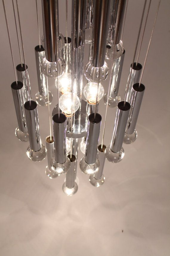 GAETANO SCIOLARI CHROME tube, full glass ball , italian chandelier pendant mid century vintage retro modern 50s 60s on Etsy, $2,117.15 AUD