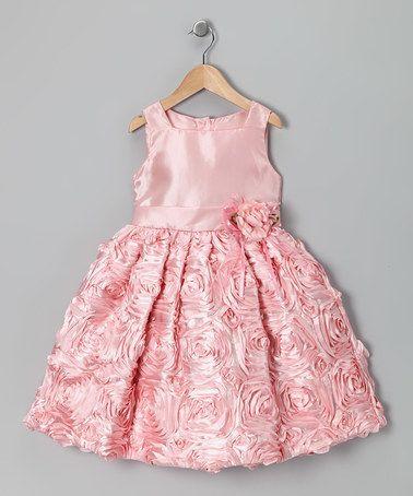 Coral Satin Rosette Dress - Toddler & Girls