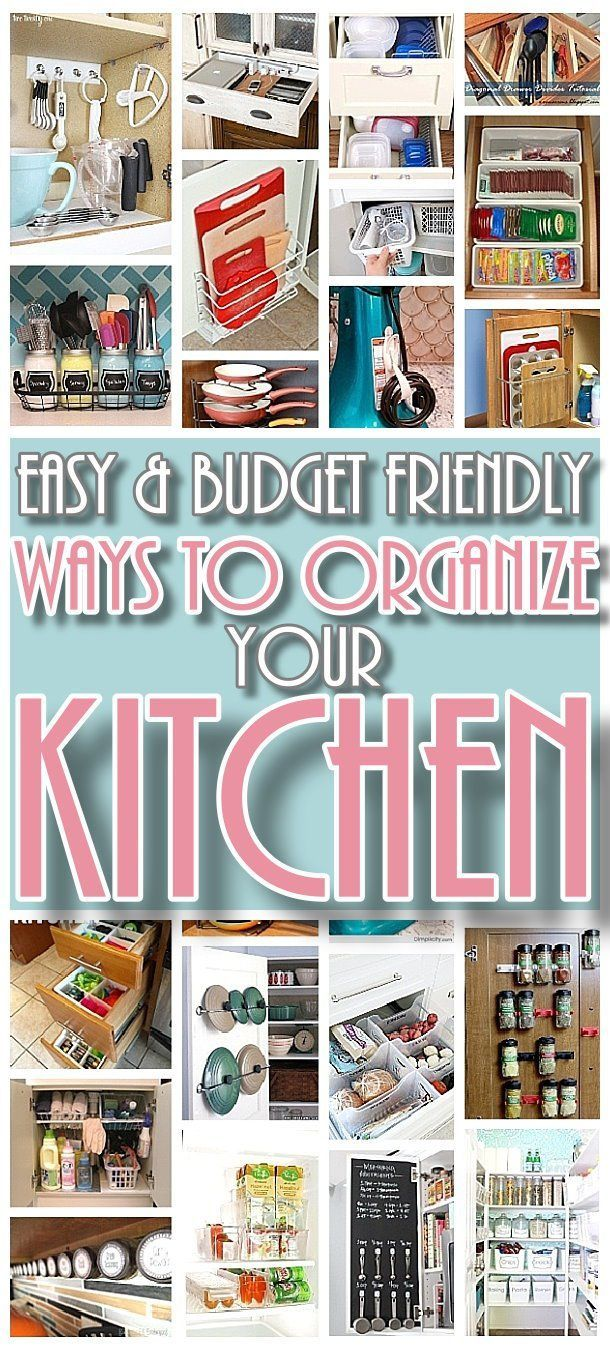 Easy and Budget Friendly Ways to Organize your Kitchen - DIY Hacks, Ideas, Space Saving tips and tricks for Organization in a small or big Kitchen!  Some would even be great for do it yourself organizing projects for the kitchen in a camper or RV!