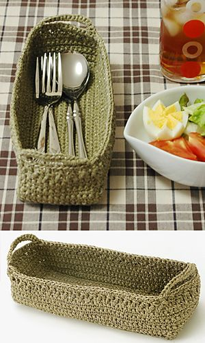 Bread or cutlery, pencils or markers - lots of uses for this cute little basket. Click on 'container' then the picture of the basket for the pdf pattern and diagram.