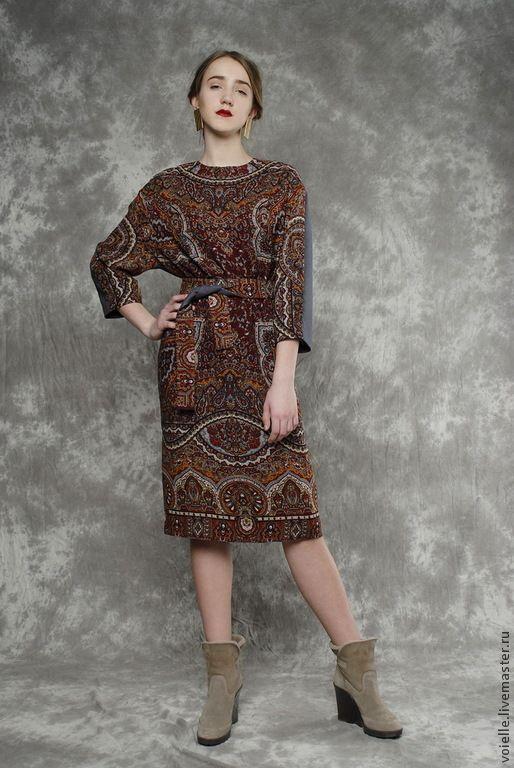 Купить Платье из шерстяного павловопосадского платка в русском стиле - павловопосадский платок, павловопосадское платье