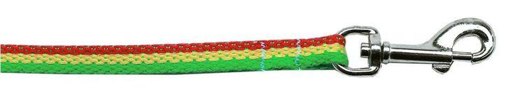 Rasta Bamboo Nylon Dog Collar 3-8 wide 6Ft Lsh