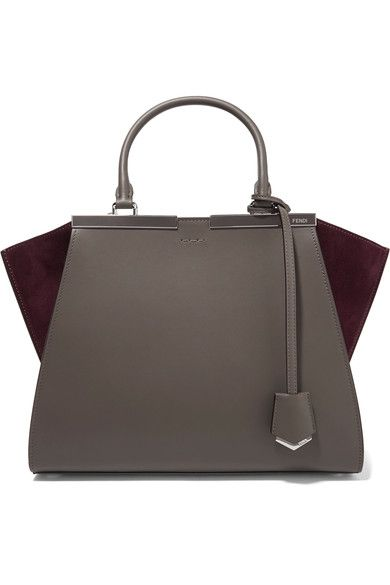 Fendi - 3jours Suede-paneled Leather Tote - Dark gray