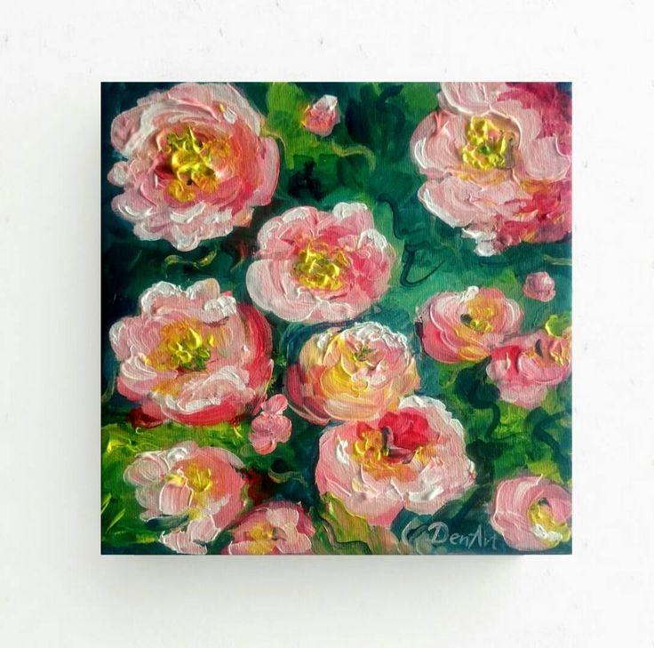 Abstract flowers original paintingtextured artanniversary