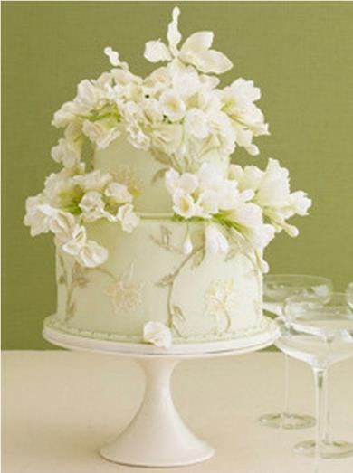 Ivory Wedding Cake-I love the vines and subtle floral design-simply lovely