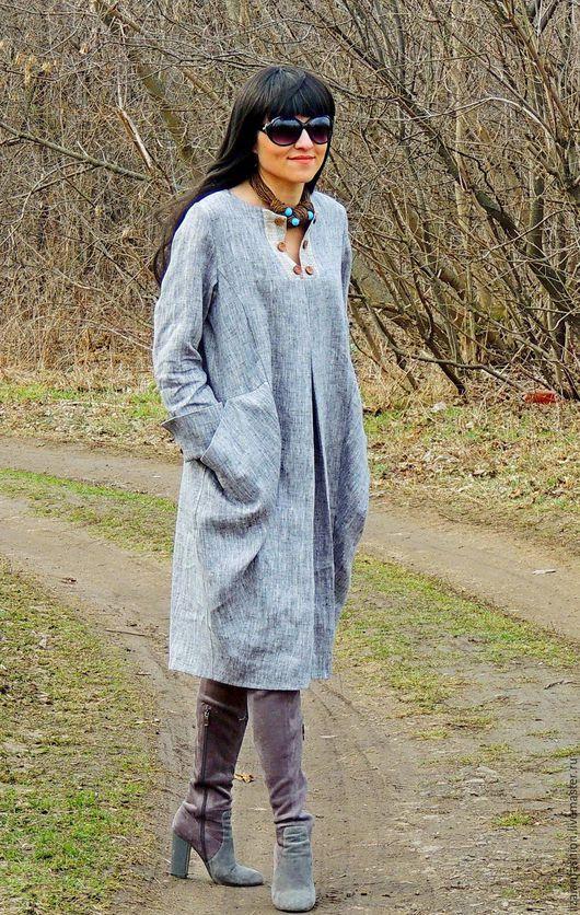 Платья ручной работы. Заказать Платье-туника в стиле БОХО  из натурального льна (№262). Liza Ian  Fashion. Ярмарка Мастеров.