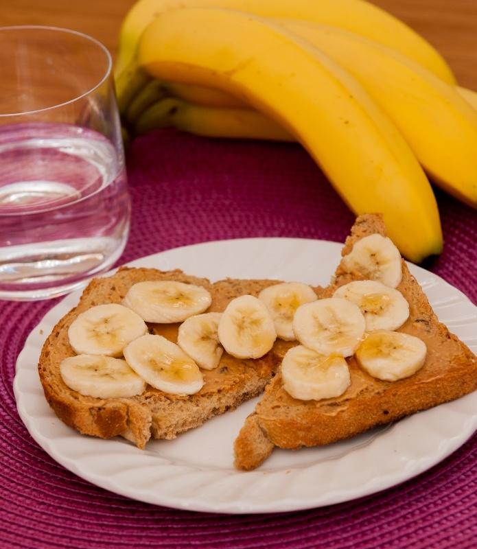 Peanut butter, banana and honey on toast