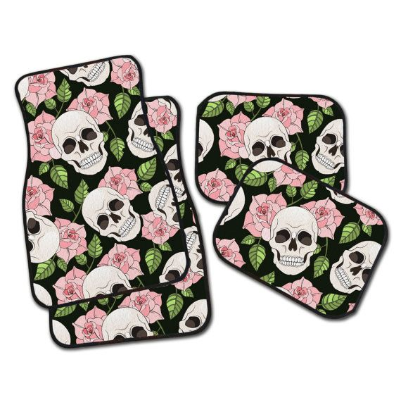 PINK Sugar Skull Car Mats, Set of 4 Floor Mats for your car! 2 Front, 2 Rear, or all 4! Dia de los Muertos Car Mats.