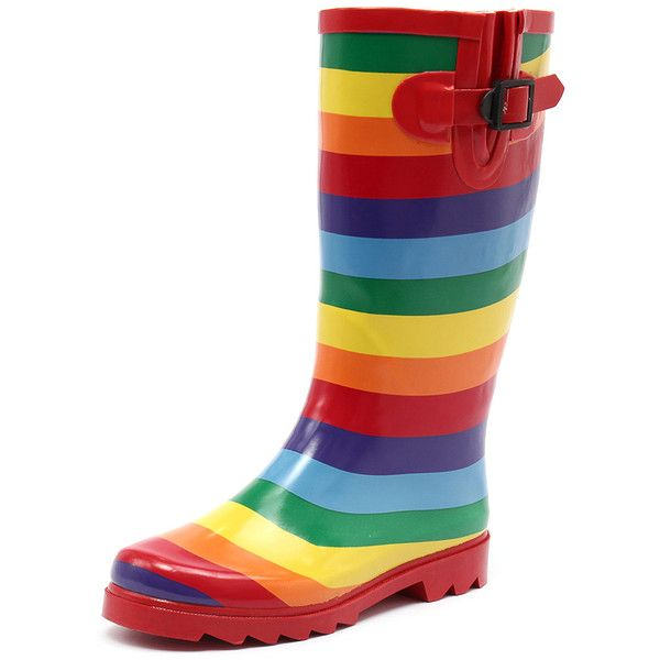 Gumboots Rainbow Long ($45) ❤ liked on Polyvore featuring shoes, boots, rainbow rain boots, low heel boots, wellies boots, faux-fur boots and waterproof boots
