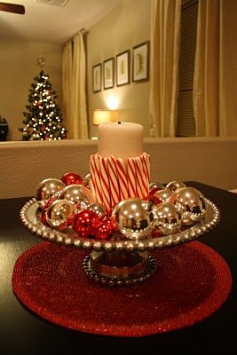 easy and elegant, festive Christmas centerpiece. candle, candy cane, vintage ornaments on a cake plate or footed bowl