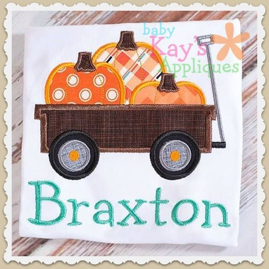 Pumpkin Wagon Applique - This fun wagon is filled with super cute pumpkins! Use a different fabric for each pumpkin or use all the same.