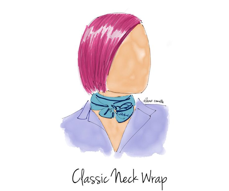 How to Style A Scarf - Classic Neck Wrap   fashion illustration