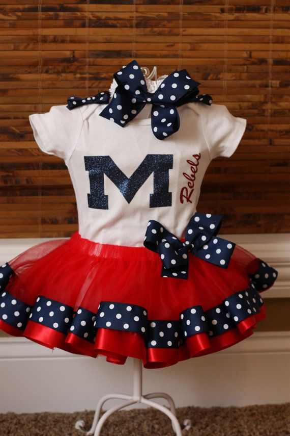 Ole Miss University of Mississippi Collegiate Shirt for girls with shoulder bows