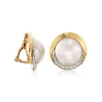 Simons Golden leaf and pearl earrings RPcFf1H3