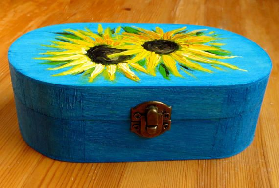 Sunflowers Jewelry Wooden Box Turquoise Blue by MikiMayoShop