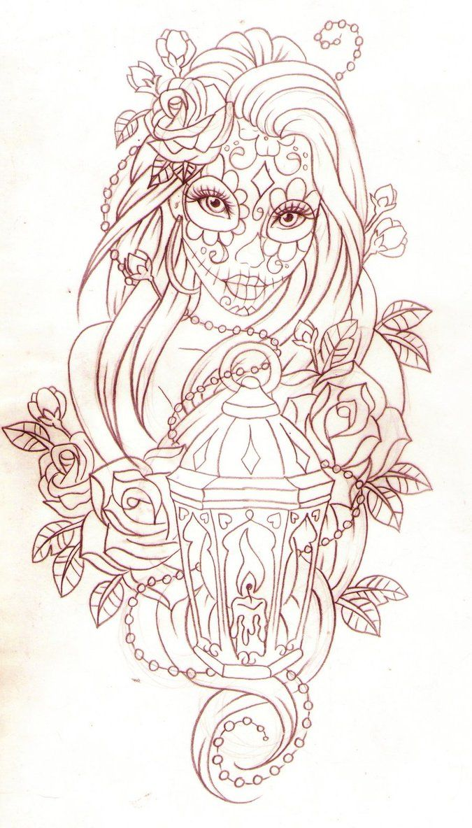 Day of the dead lantern by *Nevermore-Ink