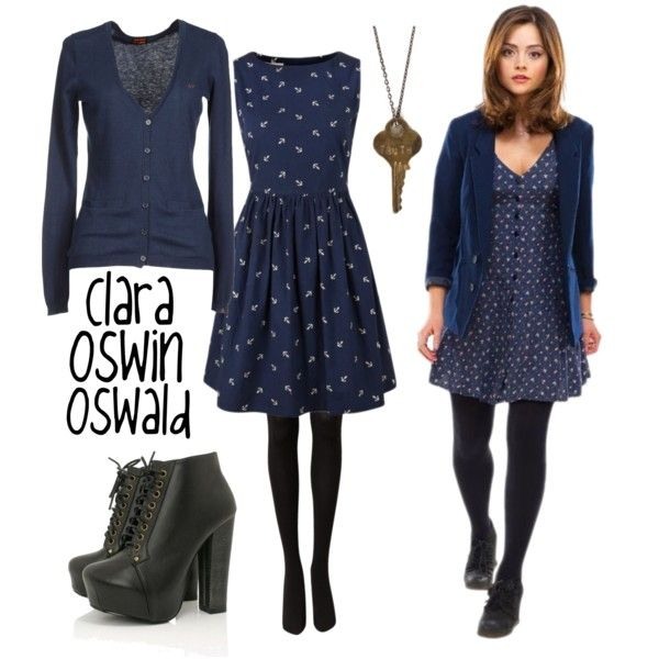 Clara Oswin Oswald by brieweasley on Polyvore featuring Louche, SUN68, Witchery and The Giving Keys