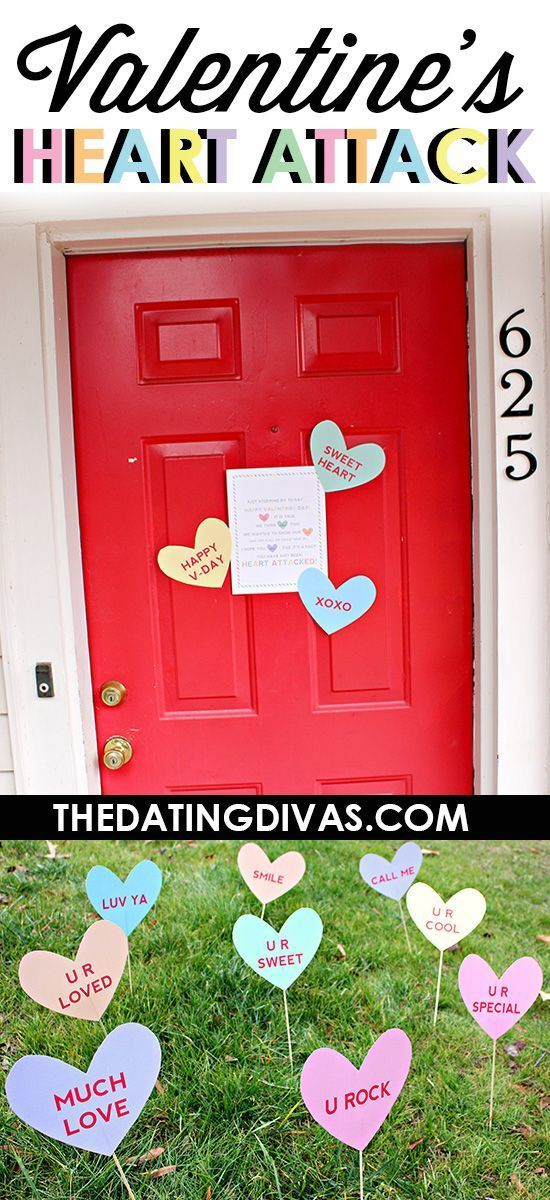 Free printable heart attack lawn signs for Valentine's Day. The poem on the door sign is pretty clever, too! A fun way to spread some love. www.TheDatingDivas.com