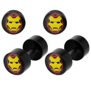 Marvel Iron Man Face 18G Fake Plug Earrings