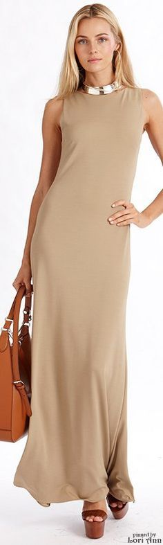 RL nude maxi dress @roressclothes closet ideas women fashion outfit clothing style