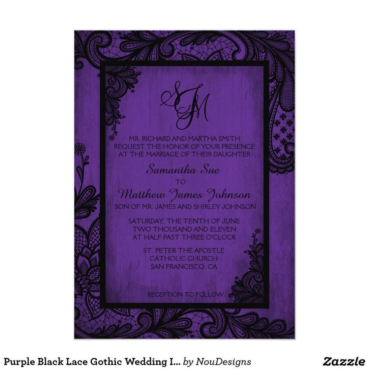 invitation letter for us vissample wedding%0A Purple Black Lace Gothic Wedding Invitation Card