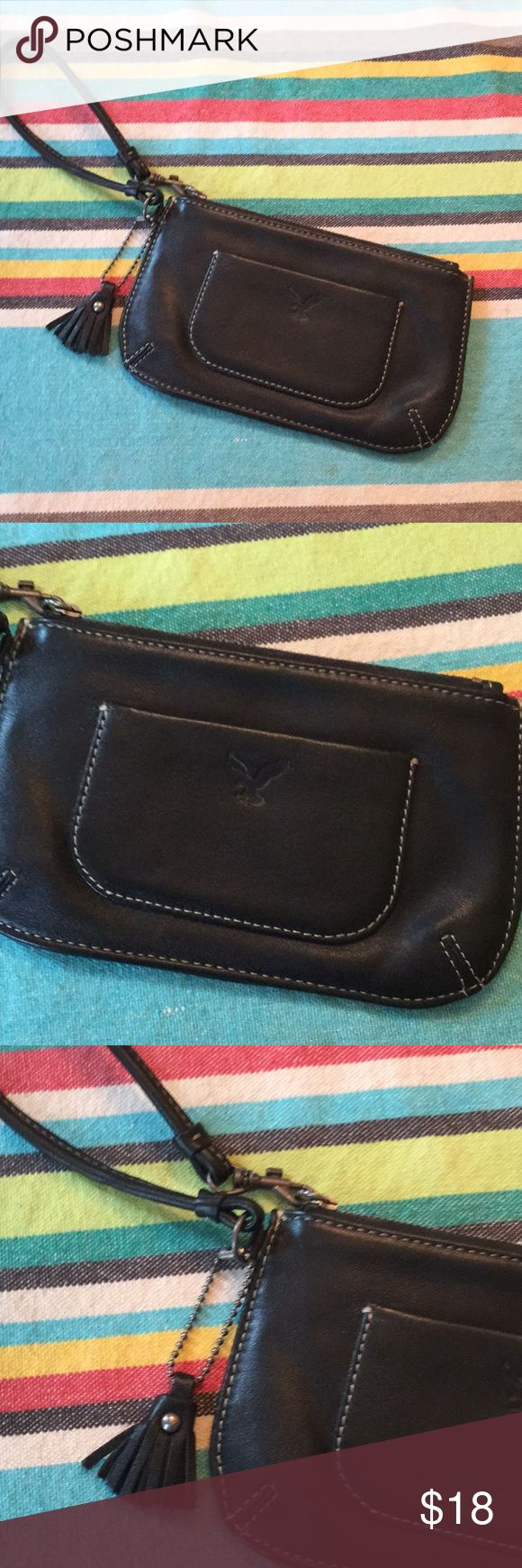 American EAGLE OUTFITTERS LEATHER WRISTLET Beautiful quality leather wristlet by American Eagle. New. Never used. American Eagle Outfitters Bags Clutches & Wristlets