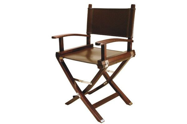 The Assarion Director's Chair, a luxury version of the traditional canvas chair director's chair , but with a ZAMBEZI buffed spice leather seat and back. The frame is made from brandy and red wine barrel staves