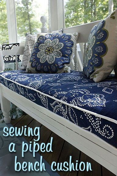 Make your own Bench Cushion with Piping following this easy sewing tutorial how to. Plus, a link to making your own piping.