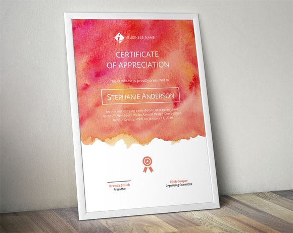 Watercolour corporate certificate by Inkpower on @creativemarket
