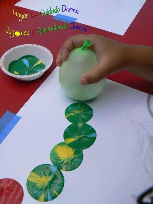 Técnica con globos para pintar. Consiste en inflar un globo con aire, y manchar la basse de éste con la pintura deseada ( temperas) , haciendo una mezcla o utilizando un solo color. En el dibujo se plasma lo que uno desee, formando siluetas, combinaciones, personas, animales...