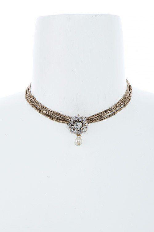 Diamond & Pearl Multi Antique Gold Chain Choker Necklace