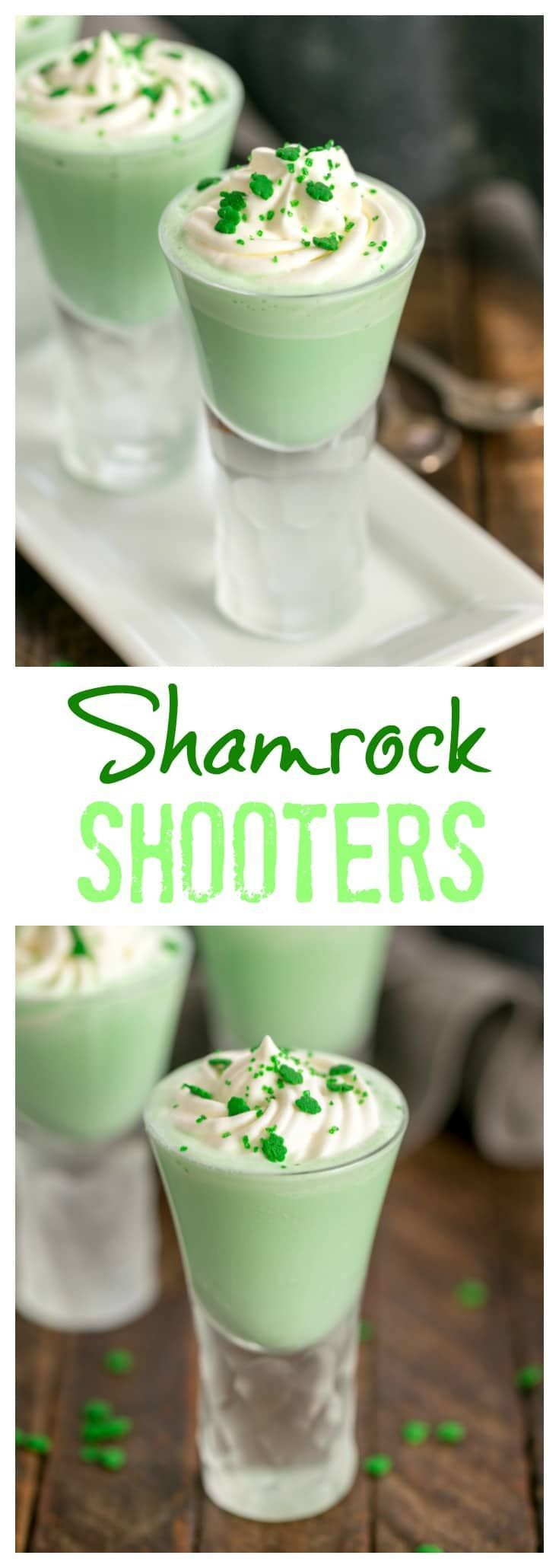 Shamrock Shooters with Creme de Menthe - mini peppermint shakes perfect for #stpatricksday #shamrockshakes #peppermint