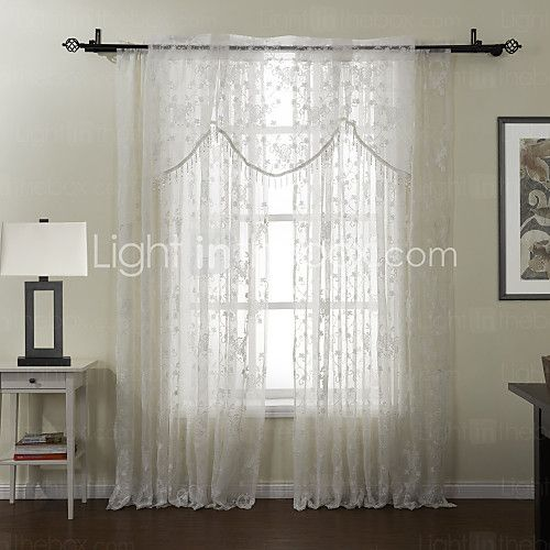#(One Panel) Grommet Top Embroidery Sheer With Valance Curtain Set - USD $39.99