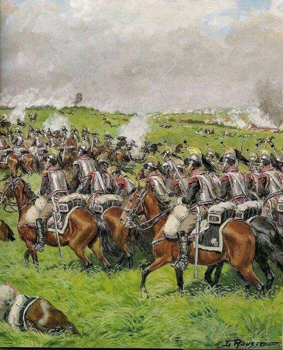 Chargement des cuirassiers français sur le parvis de Waterloo. Artiste L. Rouselott.