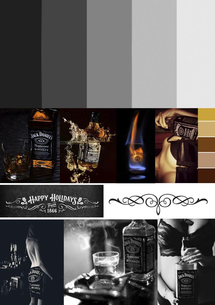 Huisstijl nummer 1: Jack Daniels. De zwart, grijze en witte tinten die gebruikt worden in voornamelijk de achtergrond en logo steken sterk af tegen het whiskey/honing bruin dat als extra tint wordt ingezet. De stijl van Jack Daniels komt mysterieus, spannend en donker over. Dit gaat gepaard met het sexappeal dat Jack ook veel in zijn reclame's terug laat komen.