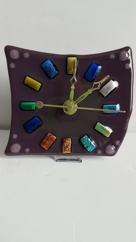 Check out this item in my Etsy shop https://www.etsy.com/listing/494006398/fused-glass-clock-desktop-clock-mantel