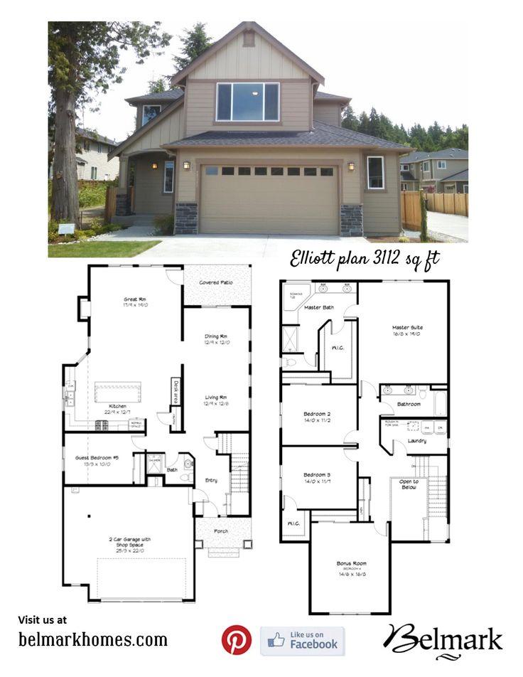 Elliott plan 3112 sq ft 4 bedroom bathrooms for Elliott homes floor plans