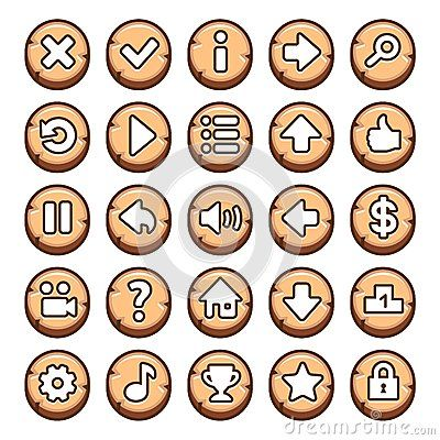 Wooden, round video game buttons