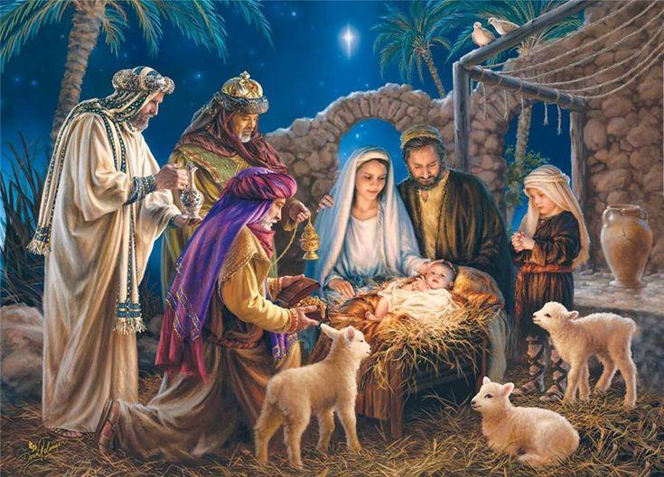 Bijbelse voorstelling; er word een verhaal uit de bijbel uitgebeeld. Kindje Jezus is geboren, naar een verhaal uit de bijbel.