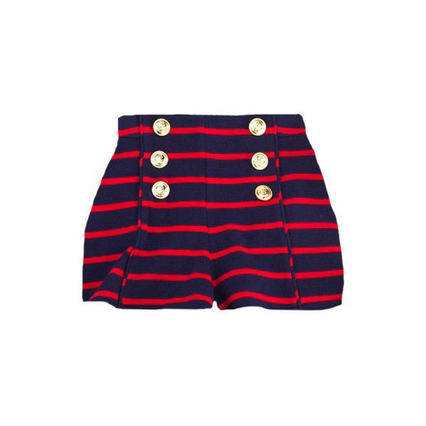 Striped Nautical Shorts ($54) ❤ liked on Polyvore featuring shorts, stripe shorts, nautical shorts, cotton shorts, shiny shorts and striped shorts