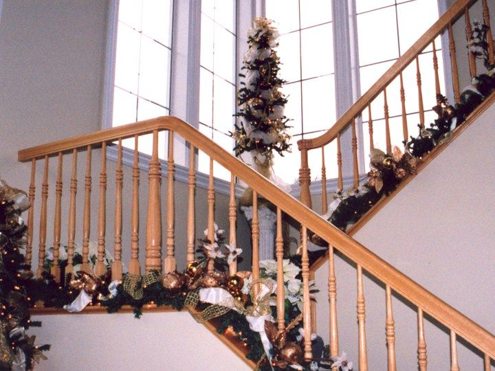 Slide 019 christmas pinterest christmas garlands for Stair railing decorated for christmas