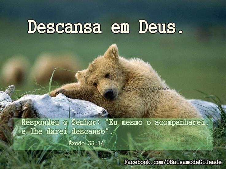 """Descansa em Deus. Respondeu o Senhor: """"Eu mesmo o acompanharei, e lhe darei descanso"""".  Êxodo 33:14"""