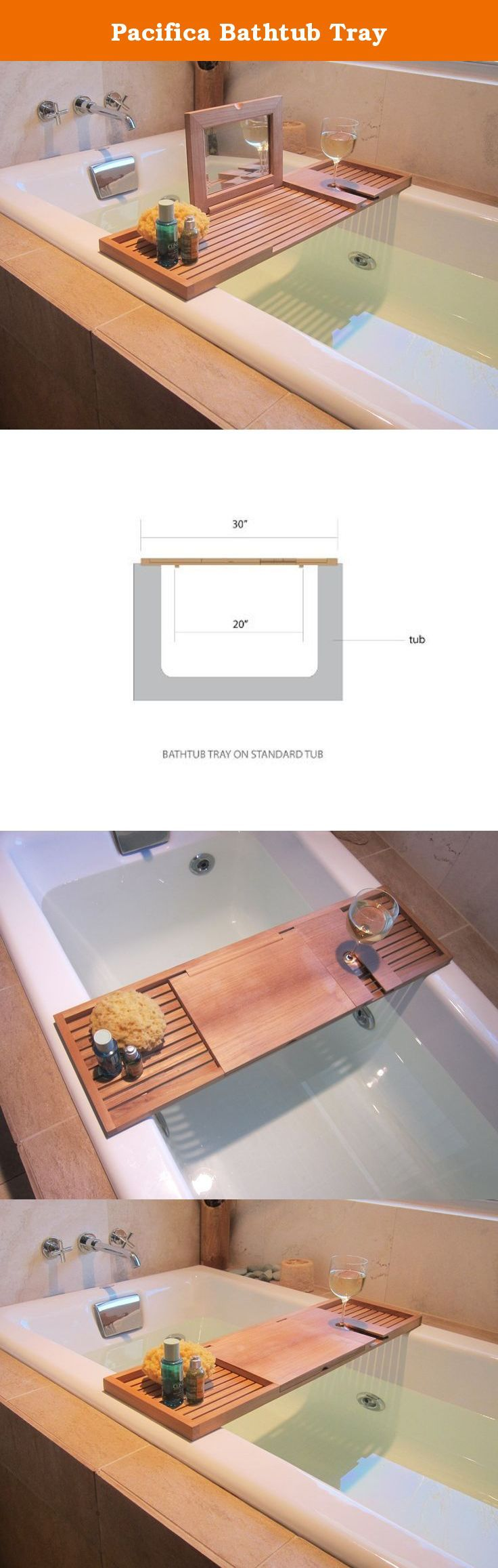 Pacifica Bathtub Tray. With its simple form and clean lines, the Pacifica Bathtub Tray offers one of the most versatile uses in bathroom accessories. Use the flat surface for writing or catching up on your novel. Ample space on both ends will hold anything from votive candles, your smartphone or any of the additional trappings of a luxury bath while soaking in the tub. The top flips back to reveal a mirror. A wineglass slot ensures your glass will not tip over. Built with 100% Grade A…