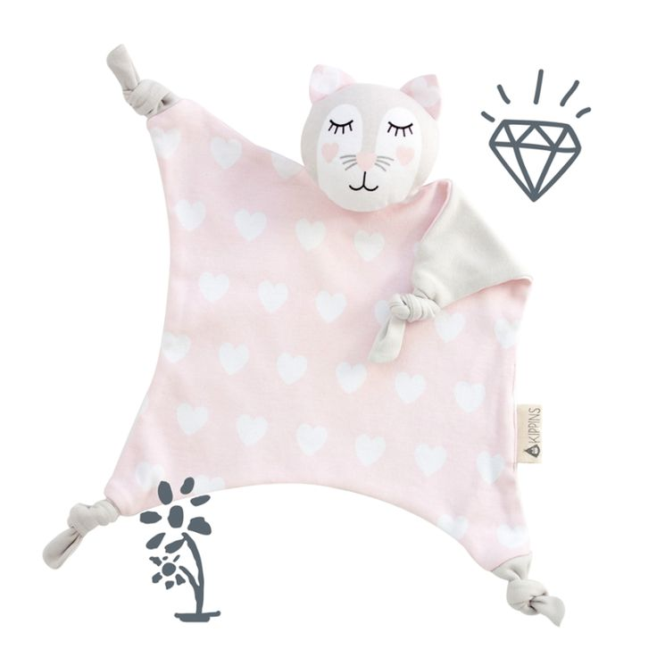 In a Kippiny treehouse, a pink cat shares milk and hugs with friends - the finest of things. Her name is Kitty Kippin. Pink and white cat comforter baby toy with love heart print and soft grey back. Kippins are designed using simple, bold prints that new babies love! Theyäó»re hypoallergenic and gentle on new skin äóñ perfect for hugs and play. Let them take you to Kippi äóñ a magical place that exists in the moments just before you fall asleep.  Printed using organic inks - spots, dots...