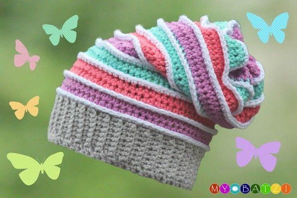 Mit dieser Mütze kannst du dir eine fröhlich bunte Mütze häkeln. Das Ebook ist für Mützen für Kinder (ab 1 Jahr) und Erwachsene geschrieben. Die Farben können beliebig variiert werden und durch unterschiedlich verwendete Wolle kannst du dir eine F