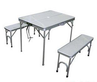 High Quality Aluminium Alloy Portable Folding Outdoor Picnic Table With Seats.Adjustable height.
