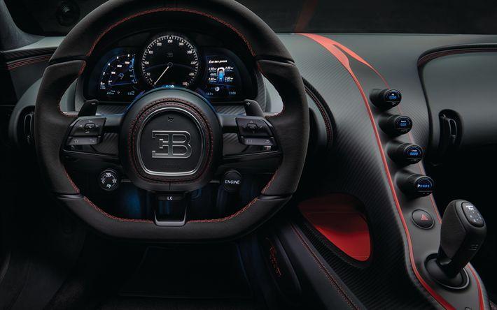 Download wallpapers Bugatti Chiron, 4k, dashboard, speedometer, 2018 cars, hypercars, Bugatti